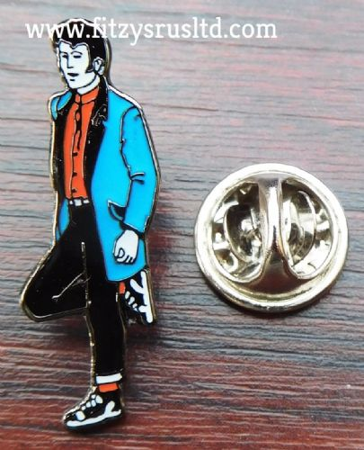 Teddy Boy Ted Lapel Hat Tie Metal Pin Badge Rock and Roll Brooch Drape Creepers